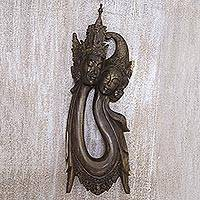 Wood wall sculpture, 'Rama and Sita Love Story' - Artisan Crafted Hibiscus Wood Rama and Sita Wall Decor
