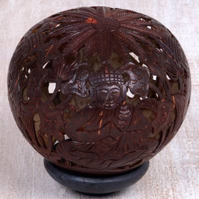 Coconut shell sculpture, Buddhas Lore