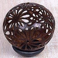 Coconut shell sculpture, 'Sacred Melati' - Coconut Shell Sculpture on Stand with Melati Flowers Carving
