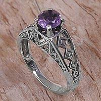 Amethyst cocktail ring, 'Sky Goddess Temple' - 925 Silver Solitaire Ring Artisan Crafted with Amethyst