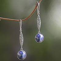 Cultured pearl dangle earrings, 'Twilight Blue' - Cultured Mabe Pearl and Sterling Silver Dangle Earrings
