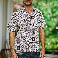 Men's cotton batik shirt, 'Island Kaleidoscope' - Men's Cotton Batik Shirt with Traditional Balinese Motifs