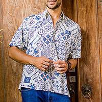 Featured review for Mens cotton batik shirt, Island Batik
