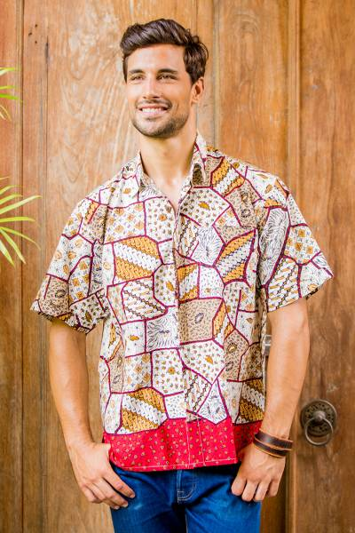 Men's cotton batik shirt, 'Island Classic' - Men's Short Sleeve Cotton Batik Button Shirt with Pocket