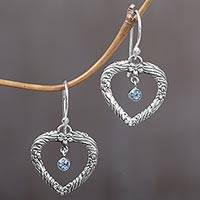 Blue topaz dangle earrings, 'Steal My Heart' - Handmade Blue Topaz and Sterling Silver Dangle Earrings