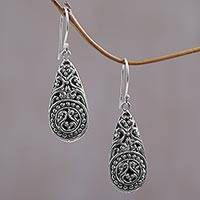 Sterling silver dangle earrings, 'Mesmerizing Moment' - Ornate Handcrafted Balinese Sterling Silver Dangle Earrings