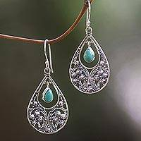 Sterling silver dangle earrings, 'Bali Crest' - Sterling Silver and Reconstituted Turquoise Dangle Earrings