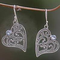 Blue topaz heart dangle earrings, 'Budding Heart' - Blue Topaz and Sterling Silver Heart Shaped Dangle Earrings