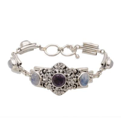 Amethyst and Rainbow Moonstone Floral Bracelet from Bali