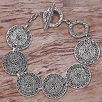 Sterling Silver Link Bracelet Sacred Petals (indonesia)