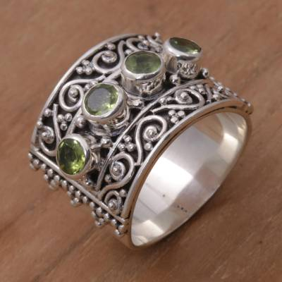 sapphire ring under 100 - Peridot and 925 Sterling Silver Multi-Stone Ring from Bali