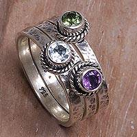 Multi-gemstone stacking rings Abundant Love (set of 3) (Indonesia)