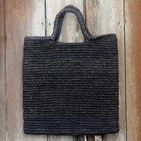 Natural fibers tote bag, 'Tropical Slice in Grey' - Handmade Woven Natural Fibers Grey Tote Bag from Indonesia