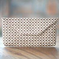 Cotton clutch handbag, 'Natural Tile' - Handmade Natural Cotton Clutch Handbag from Indonesia