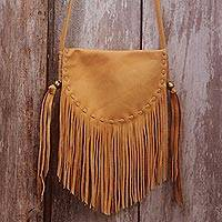 Leather sling bag, 'Caramel Travels' - Handcrafted Leather Sling Handbag in Caramel from Bali