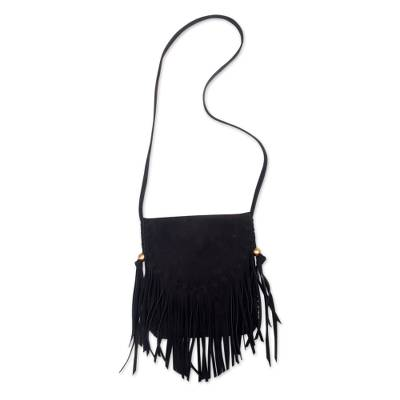 Black Suede Shoulder Bag with Fringe and Magnetic Closure