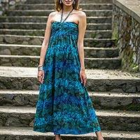 Rayon batik halter maxi dress, 'Kenanga Flower' - Batik Green Blue Floral Rayon Maxi Dress from Indonesia