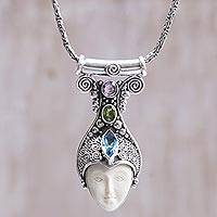 Multi-gemstone pendant necklace, 'Kuta Prince' - Blue Topaz Peridot Amethyst Bone Pendant Necklace Indonesia