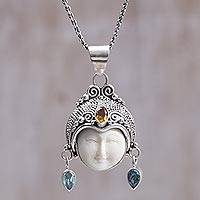 Citrine and blue topaz pendant necklace,