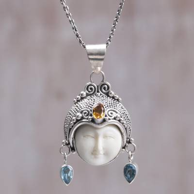 Citrine and blue topaz pendant necklace, 'Tarumanegara Princess' - Citrine Blue Topaz Bone Face Pendant Necklace Indonesia