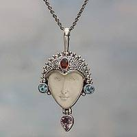 Multi-gemstone pendant necklace, 'Samudra Pasai Prince' - Blue Topaz Amethyst Garnet Bone Pendant Necklace Indonesia
