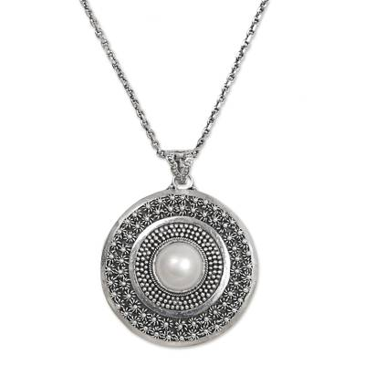 Cultured Pearl Sterling Silver Pendant Necklace Indonesia