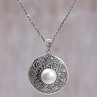 Cultured mabe pearl pendant necklace, 'Tameng Moon' - Cultured Pearl Pendant Necklace with Dot Motifs Indonesia
