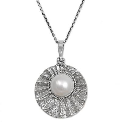 Cultured Mabe Pearl Textured Pendant Necklace from Indonesia