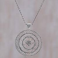 Sterling silver pendant necklace, 'Padma Star' - Sterling Silver Openwork Floral Pendant Necklace Indonesia