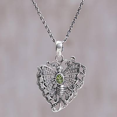 Peridot pendant necklace, 'The Last Butterfly' - Sterling Silver Peridot Butterfly Pendant Necklace from Bali