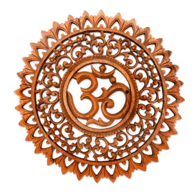 Wood relief panel, 'Lotus Om' - Hand Carved Suar Wood Sanskrit Om Sign Outlined with Lotuses