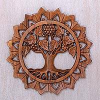 Wood relief panel, 'Life Tree' - Decorative Hand Carved Wood Wall Relief Panel