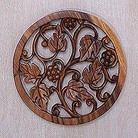 Wood relief panel, 'Grapevine' - Artisan Carved Decorative Wood Relief Panel
