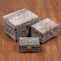 Wood nesting boxes, 'Balinese Treasure' (set of 3) - Hand Carved Nesting Boxes of Sono Wood from Bali (Set of 3)
