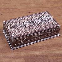 Wood jewelry box, 'Etched Blossom' - Hand Carved Whitewashed Wood Jewelry Box from Bali