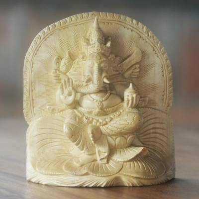 Wood sculpture, 'Ganesha's Bliss' - Wood Sculpture Ganesha Statuette Hand Carved in Indonesia