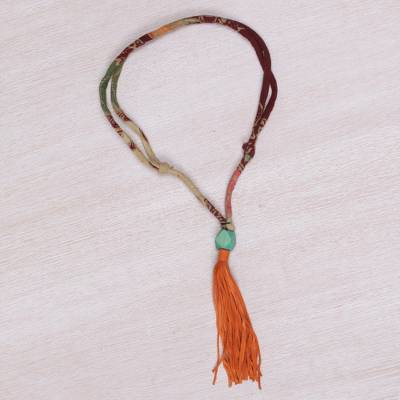 Cotton batik and suede Y-necklace, 'Kamadhenu Trail' - Handmade Cotton Batik and Suede Adjustable Y Necklace