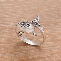 Sterling silver wrap ring, 'Soaring Dolphin' - Artisan Crafted Sterling Silver Dolphin Cocktail Ring
