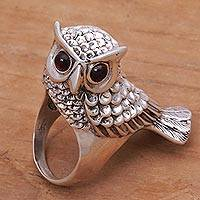 Garnet cocktail ring, 'Wise Guardian' - Hand Crafted Sterling Silver and Garnet Cocktail Ring