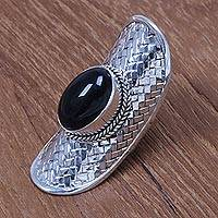 Onyx cocktail ring, 'True Glamour' - Artisan Crafted Sterling Silver and Onyx Cocktail Ring