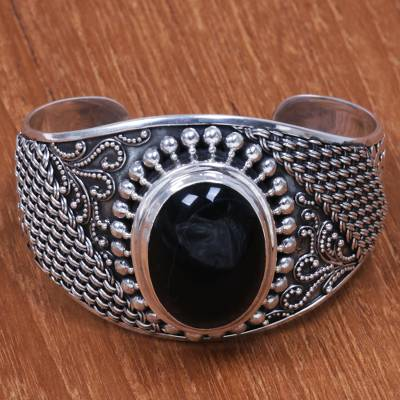 Onyx cuff bracelet, 'Tempted' - Artisan Crafted Sterling Silver and Onyx Cuff Bracelet
