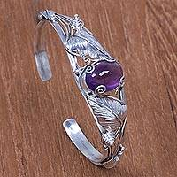 Amethyst cuff bracelet, 'Lost In Nature' - Artisan Crafted Sterling Silver and Amethyst Cuff Bracelet