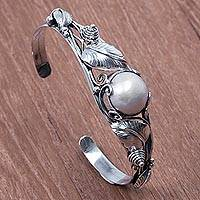 Cultured pearl cuff bracelet, 'Lost in Nature' - Hand Crafted Sterling Silver and Pearl Cuff Bracelet