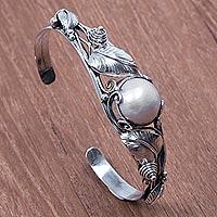 Cultured pearl cuff bracelet,