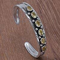 Citrine cuff bracelet, 'Star Bright' - Artisan Designed Sterling Silver and Citrine Cuff Bracelet