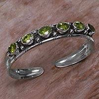 Peridot cuff bracelet, 'Star Bright' - Artisan Crafted Sterling Silver and Peridot Cuff Bracelet