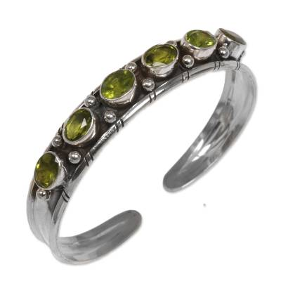 Unique Sterling Silver Peridot August Birthstone Cuff Bracelet