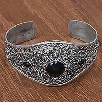 Onyx cuff bracelet, 'Celuk Style in Black' - Sterling Silver and Black Onyx Cuff Bracelet from Indonesia