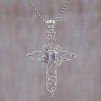 Amethyst pendant necklace, 'Cross in Bloom' - Sterling Silver and Amethyst Christian Cross Necklace