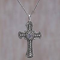Moonstone pendant necklace, 'Purity Cross' - Moonstone and Sterling Silver Cross Necklace from Bali